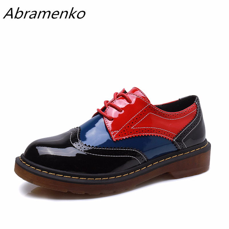 Abramenko Women Oxfords Brogue Flats Shoes Patent Leather Lace Up Pointed Toe Female Footwear Creepers Shoes for women Size 43Abramenko Women Oxfords Brogue Flats Shoes Patent Leather Lace Up Pointed Toe Female Footwear Creepers Shoes for women Size 43
