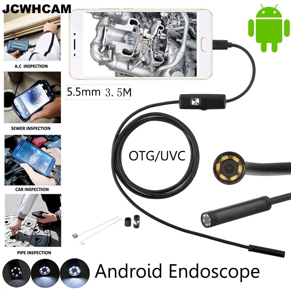 JCWHCAM 5,5 mm objektiv 3,5M Android USB endoskop fotoaparát flexibilní had USB potrubí inspekce Android telefon OTG USB Borescope fotoaparát