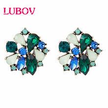 LUBOV – boucles d'oreilles multicolores en cristal, strass, fleur, couleur or, Piercing, tendance pour femmes, bijoux de fête de mariage