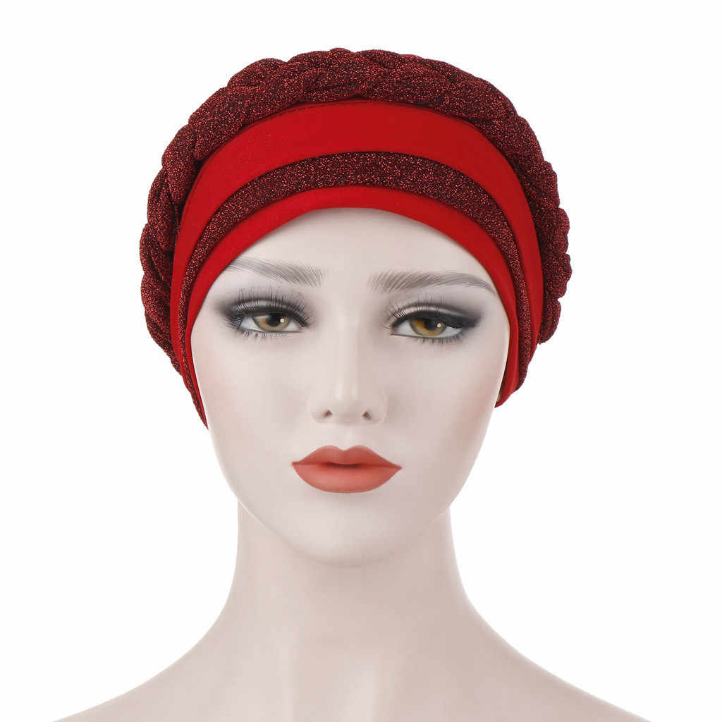 solid Women Muslim Frontal Cross Bonnet Turban Hat Chemo Cap Head Scarf Headwrap femme musulman turbantes#P6