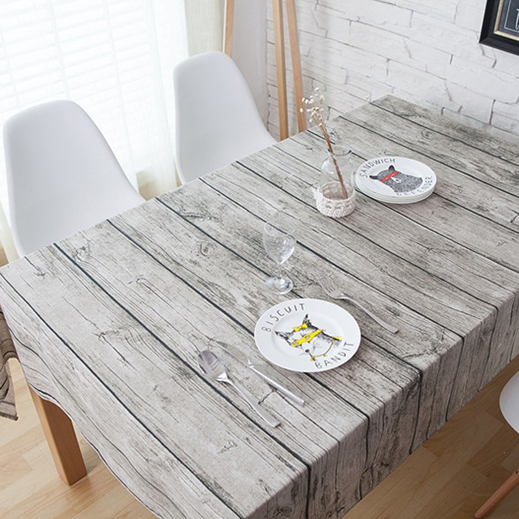 Dining Room Table Covers: Retro Wood Grain Square Shape Tablecloth Cotton Linen