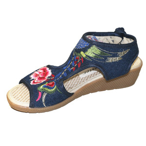 Image 5 - Womens Summer Floral Embroidery Peep Toe Casual Sandals Ethnic Vintage Ankle Wrap Dress Shoe Bohemia Slingback Beach Flats