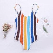 Wasteheart Summer Sexy Sports Swim One-Piece Suits Swimwear Sportswear Holiday Beach Style Striped Printed Backless
