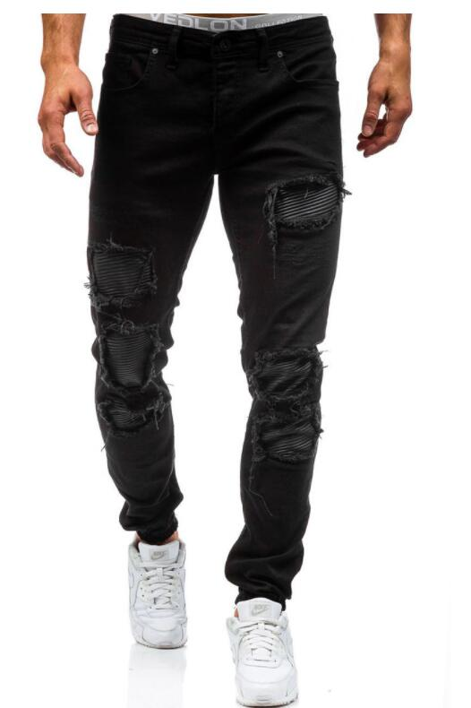 2017 New Men'S Jeans Ripped Holes Pants Korean Style Elasticity Casual Trousers Cool Stretch Man Denim Pants цены онлайн