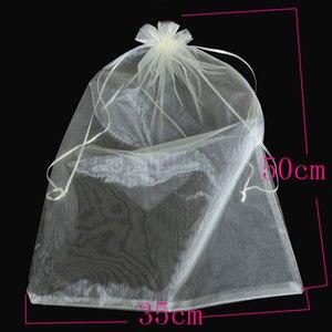 Image 5 - 50 unids/bolsa 30x40cm 35x50cm bolsas de Organza para ropa bolsas paraguas bolsa de embalaje para joyería con cordón