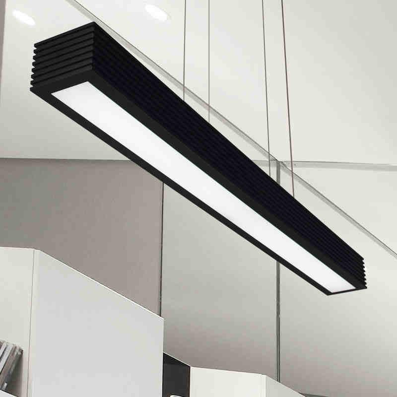все цены на Restaurant LED lamps simple modern Nordic art rectangular creative strip office Chandelier free онлайн