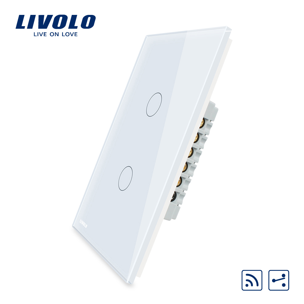 Livolo US standard Wall Light Touch Screen Switch, 2Gang 2Way ,with Remote Function AC 110~250V , VL-C502SR-11/12,Without Rmote 2017 smart home crystal glass panel wall switch wireless remote light switch us 1 gang wall light touch switch with controller