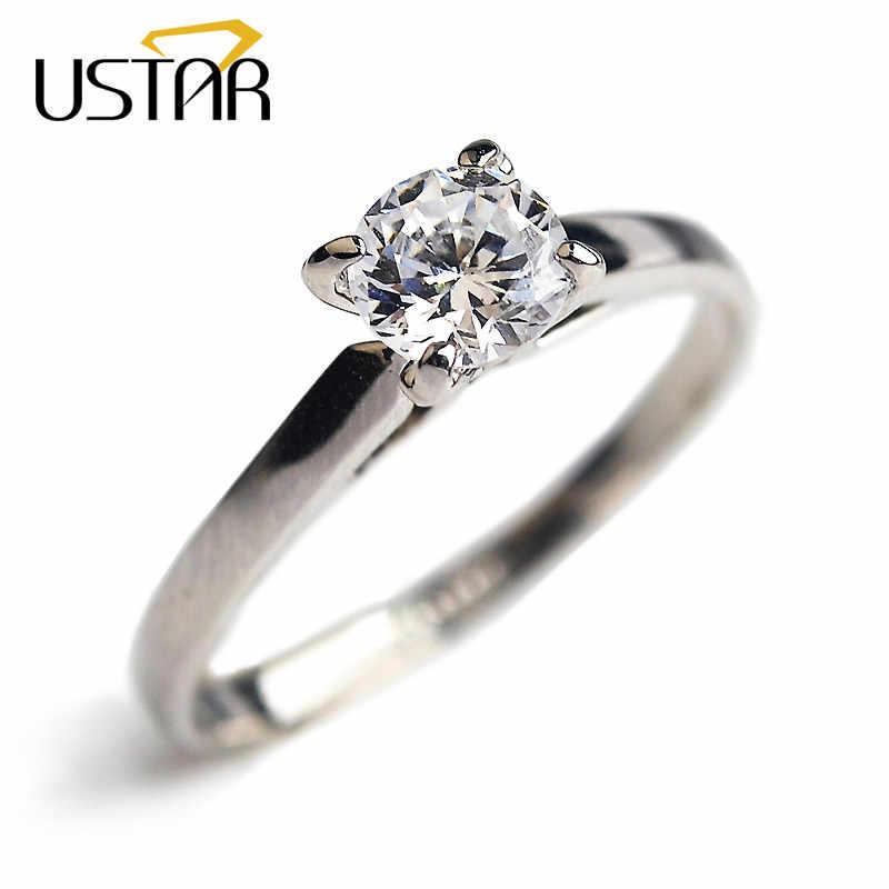 USTAR 4 prong การตั้งค่า AAA zircon แหวนผู้หญิงเครื่องประดับ Rose Gold สีคริสตัลแหวนหมั้นคริสตัลแหวนหญิง Anel Top คุณภาพ