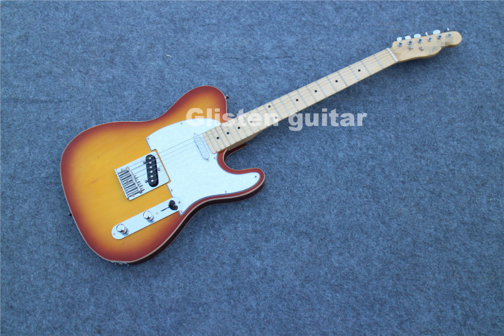 Sunburst electric guitar white binding, cheap guitar new arrival lp standard electric guitar left hand red sunburst with yellow binding