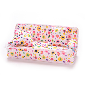 Image 5 - 1Set Cute Miniature Doll House Furniture Flower Cloth Sofa With 2 Cushions For Doll Kids Play House Toys