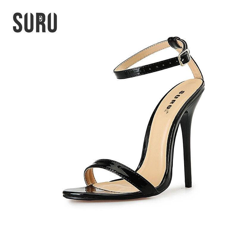 SURU Big Size Ankle-strap 13cm High Heels Sandals For Women Plus Size 50 49 48 47 46 45 44 43 42 41 40 A25 promoitalia пировиноградный пилинг pro plus пировиноградный пилинг pro plus 50 мл 50 мл 45%