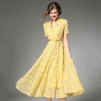 Plus Size Yellow Lace Dress Feminine 2018 V Neck High Waist Sashes Women Dresses Short Sleeves