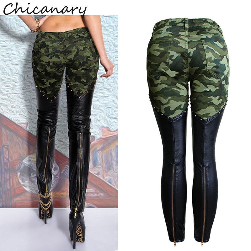 3b3d6bfbd5e11 Chicanary Women Camouflage Leather Skinny Jeans Low Rise Rivets and Zippers  Detail Punk Sculpt Butt Lift Jeans Plus Size XXXL-in Jeans from Women s  Clothing ...