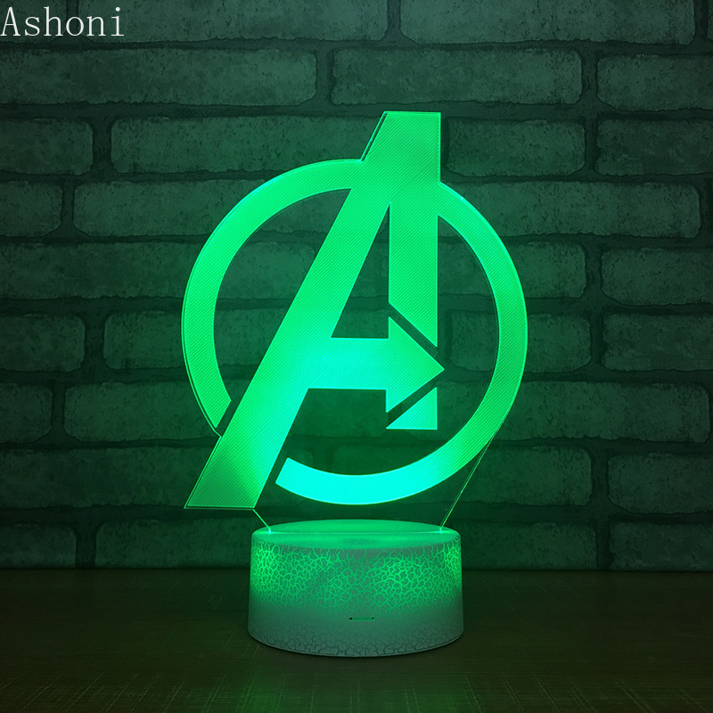Marvel The Avengers 3D Table Lamp Captain Marvel Acrylic 7 Colors Changing Night Light USB Decorative Kids Toys Gifts in LED Night Lights from Lights Lighting