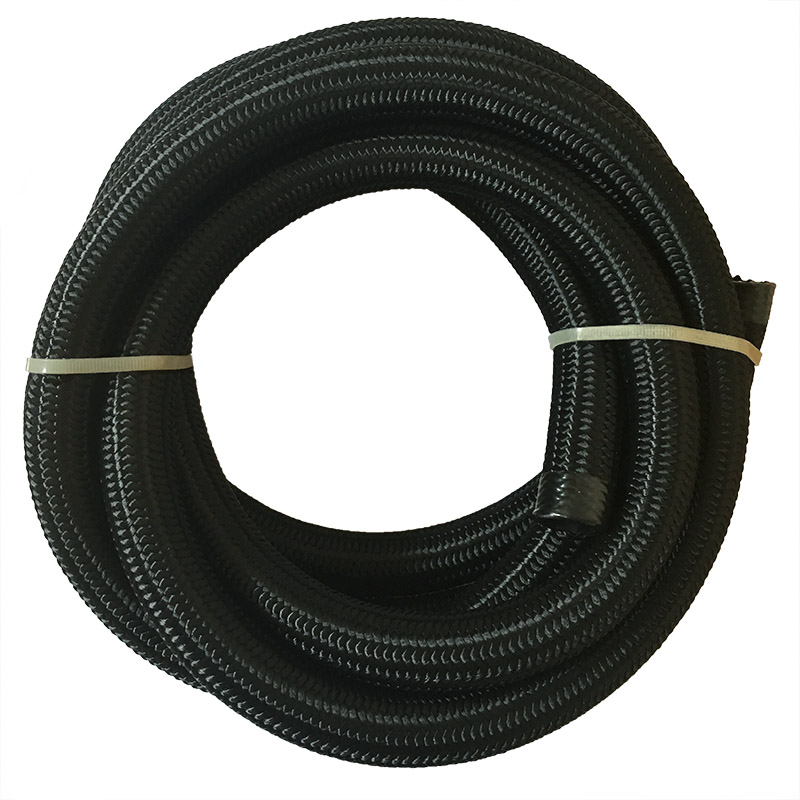 Top Quality 12 AN 5 Meter Nylon / Cotton Over Black Braided Fuel / Oil Hose Pipe Tubing  ...