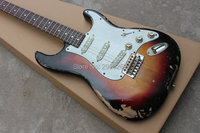 Custom exclusive ST big headstock handmade relic guitar vintage sunburst color aged body and hardware real guitar pics
