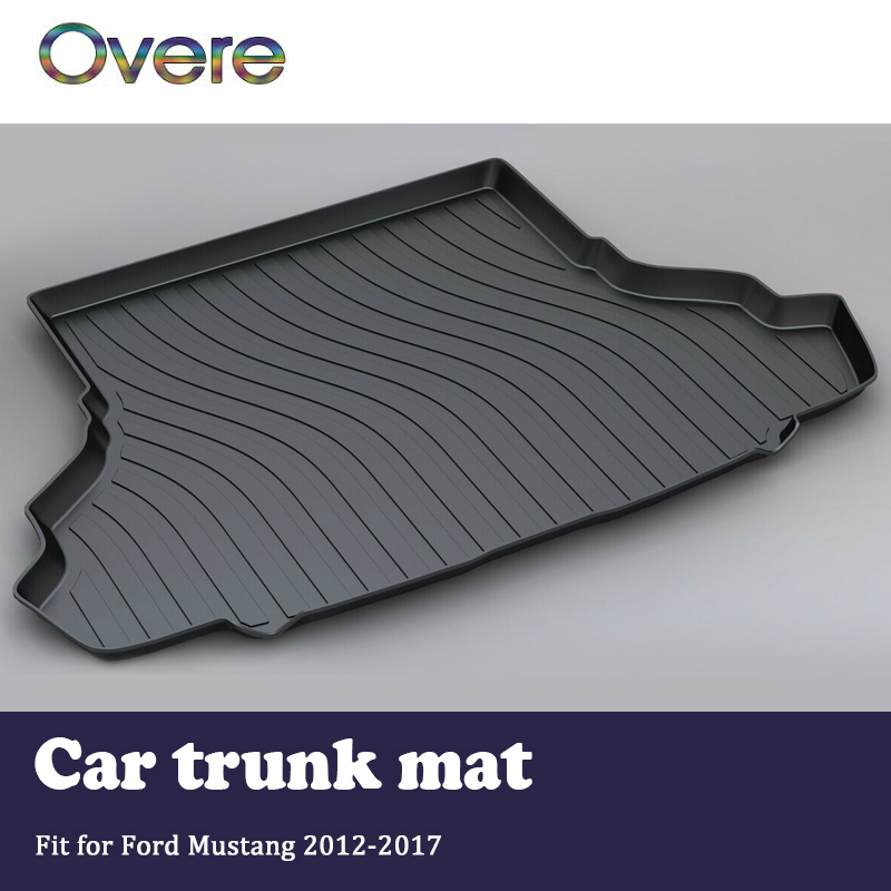 Overe 1Set Car Cargo rear trunk mat For Ford Mustang 2012 2013 2014 2015 2016 2017 Styling Liner Tray Anti-slip Mat accessories overe 1set car cargo rear trunk mat for audi a1 2012 2013 2014 2015 2016 2017 liner tray waterproof anti slip mat accessories