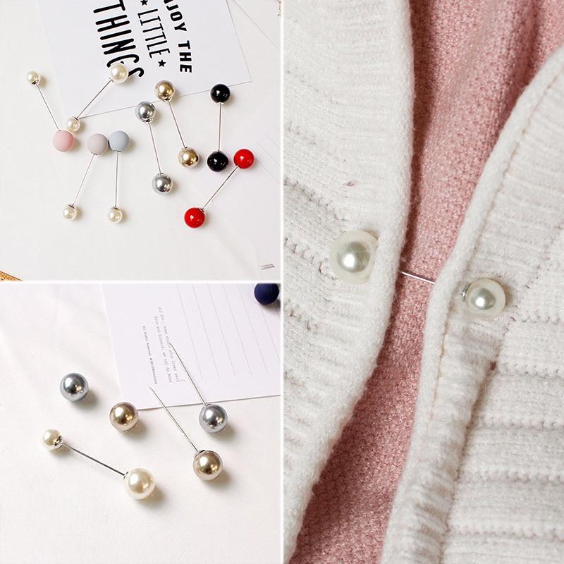 Распродажа, 1 шт., классические двухсторонние Броши с имитацией жемчуга для девушек, женские броши, высокое качество, аксессуары для свитера, студенческие булавки