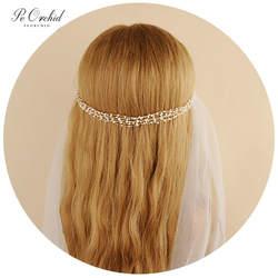 PEORCHID золото/серебро люкс ободки ручной работы свадебные украшения на голову для Для женщин аксессуары для венчания заколка в виде цветка