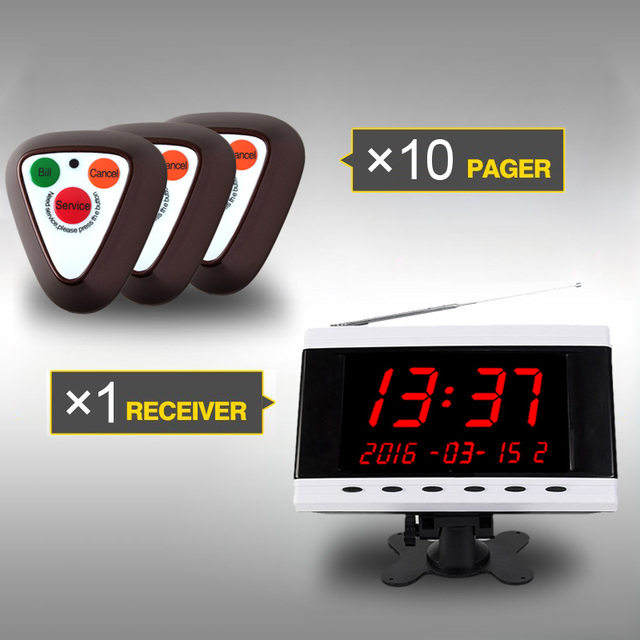 Wireless Calling System,  wireless pager, waiter calling system for Hotel Cafe KTV Bar Restaurant, 1 Receiver+10Buttons