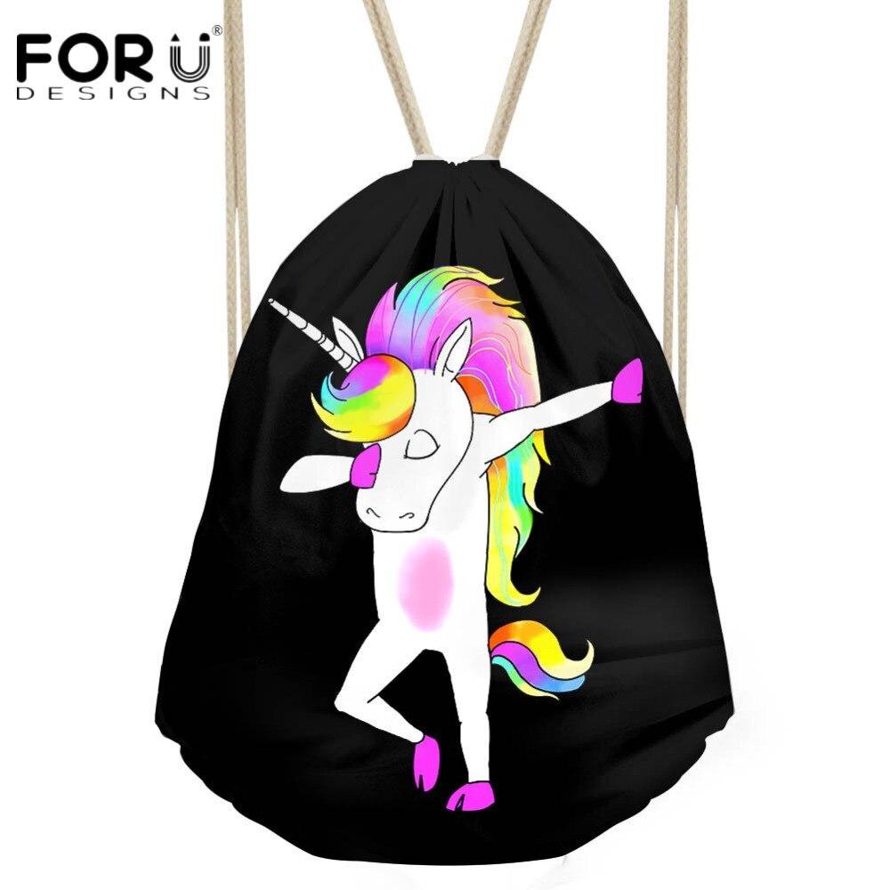 FORUDESIGNS Funny Unicorn Pony/Panda/Pig Swag Drawstring Bag for Women Men Travel Small Package Backpacks Softback Luggage Bags