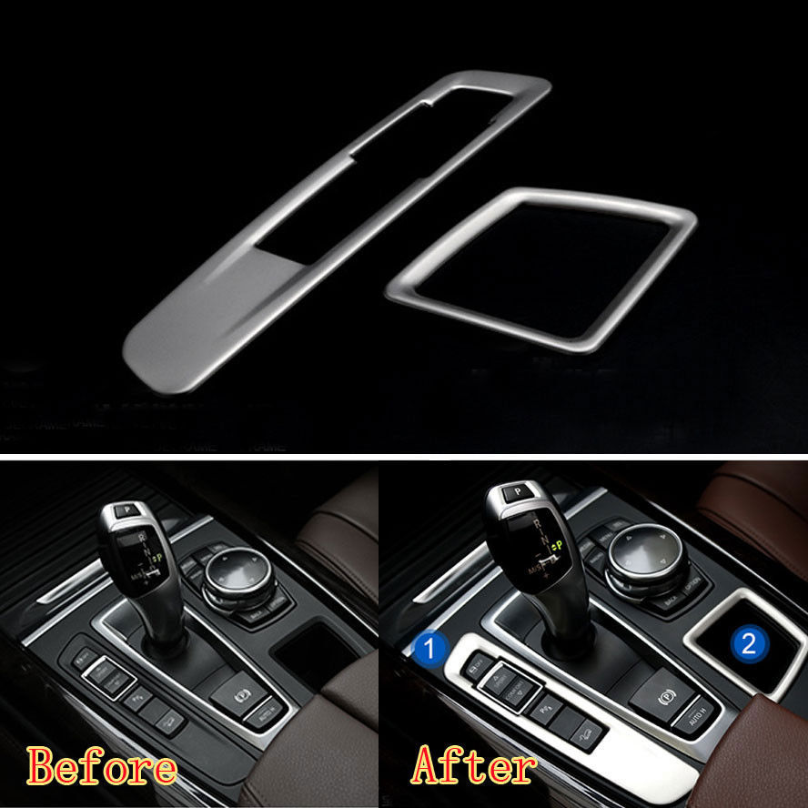 2pcs Stainless Steel Car Gear shift Box Panel + Storage Box Cover Car styling For bmw X5 F15 X6 F16 2014-2015 Car accessories accessories for bmw x5 f15 2014 2016 x6 f16 2014 2017 abs rear armrest box decoration molding cover trim 2 pcs set