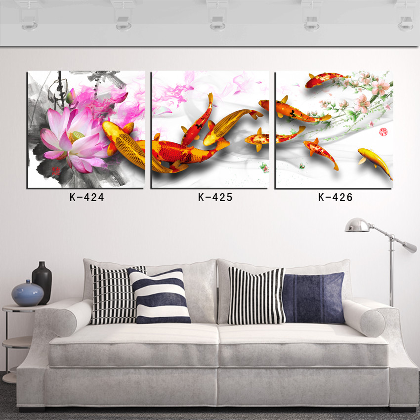 Posters and prints free shipping by epacket 3 panel canvas for Koi canvas print