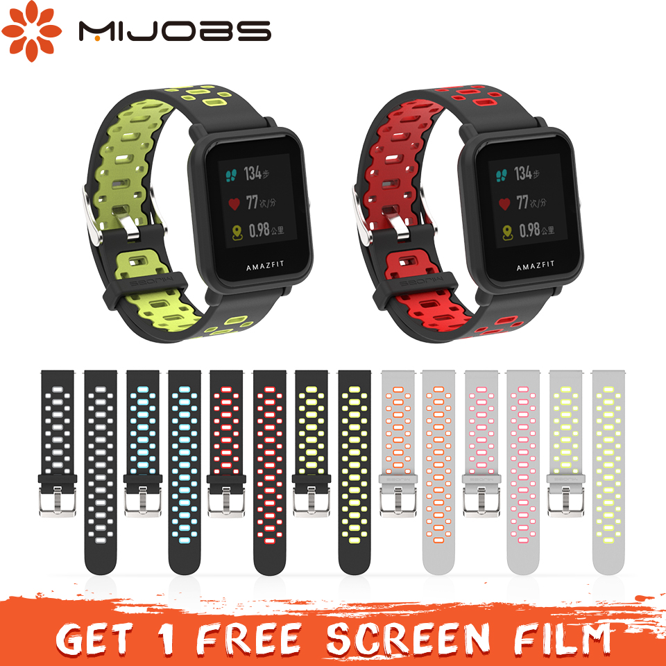Mijobs 20mm Sports Silicone Wrist Strap for Xiaomi Huami Amazfit Bip BIT PACE Lite Youth Smart Watch Amazfit Strap Bracelet mijobs 20mm silicone wrist strap protective case cover plastic pc shell for huami xiaomi amazfit bip bit pace lite smart watch