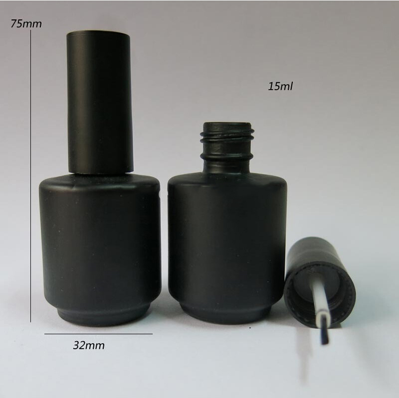 wholesale 100pcs 15ml Black Empty Nail Polish Bottle, 15cc Black nail enamel bottle, 15 ml black glass bottle with brush cap