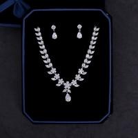 Round Cut Zircon Flower Necklace Choker Fashion Wedding Bridal Jewerly Sets Cubic Zirconia Teardrop Dangle Earrings Women Bijoux