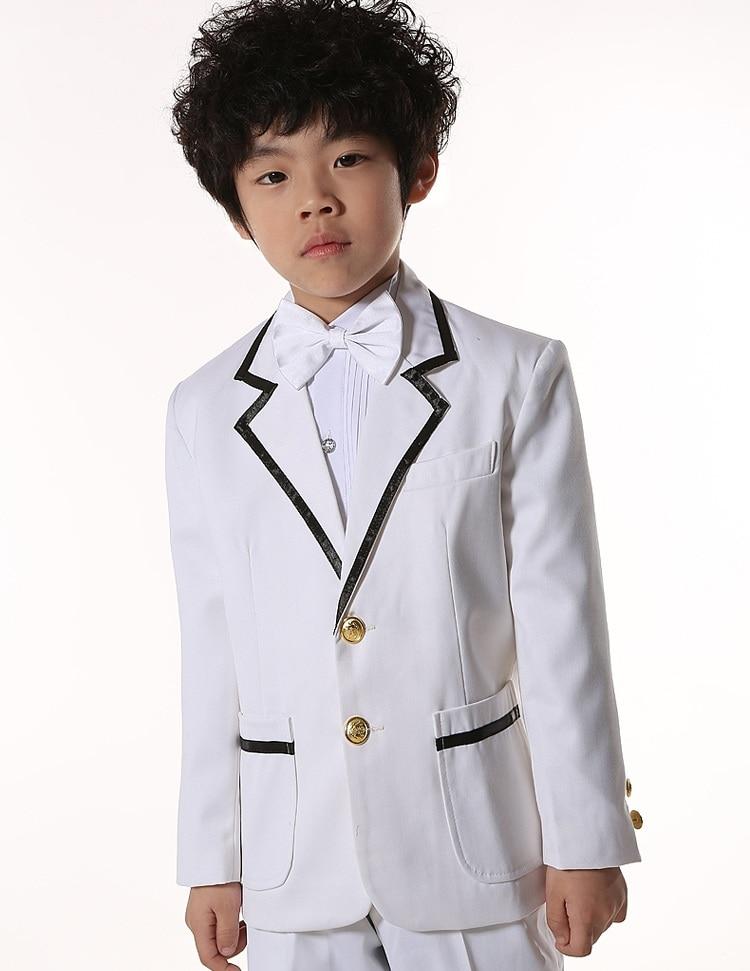 Boy White Wedding Suits 5 Pcs/Set Coat+Shirt+Pant+Belt+Tie Size 100-150 Boy Performances Party Suits Black Size 100-150 Retail ремень fallen suits belt black