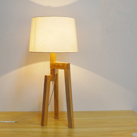 wooden table Lamps sweet desk light retro fabric shade antique bracket desktop bedroom dining room office natural