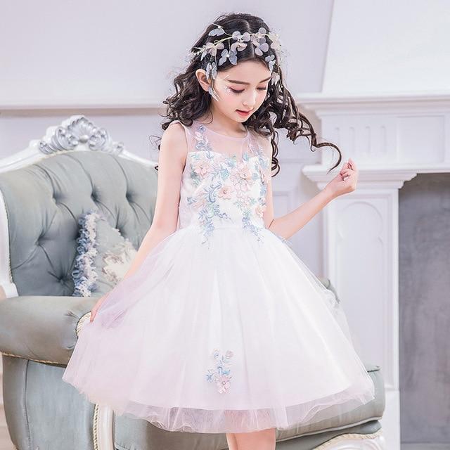 Свадебные и Бальные платья для девочек в цветочек белые нарядные платья для  девочек 5975dee69dbfa