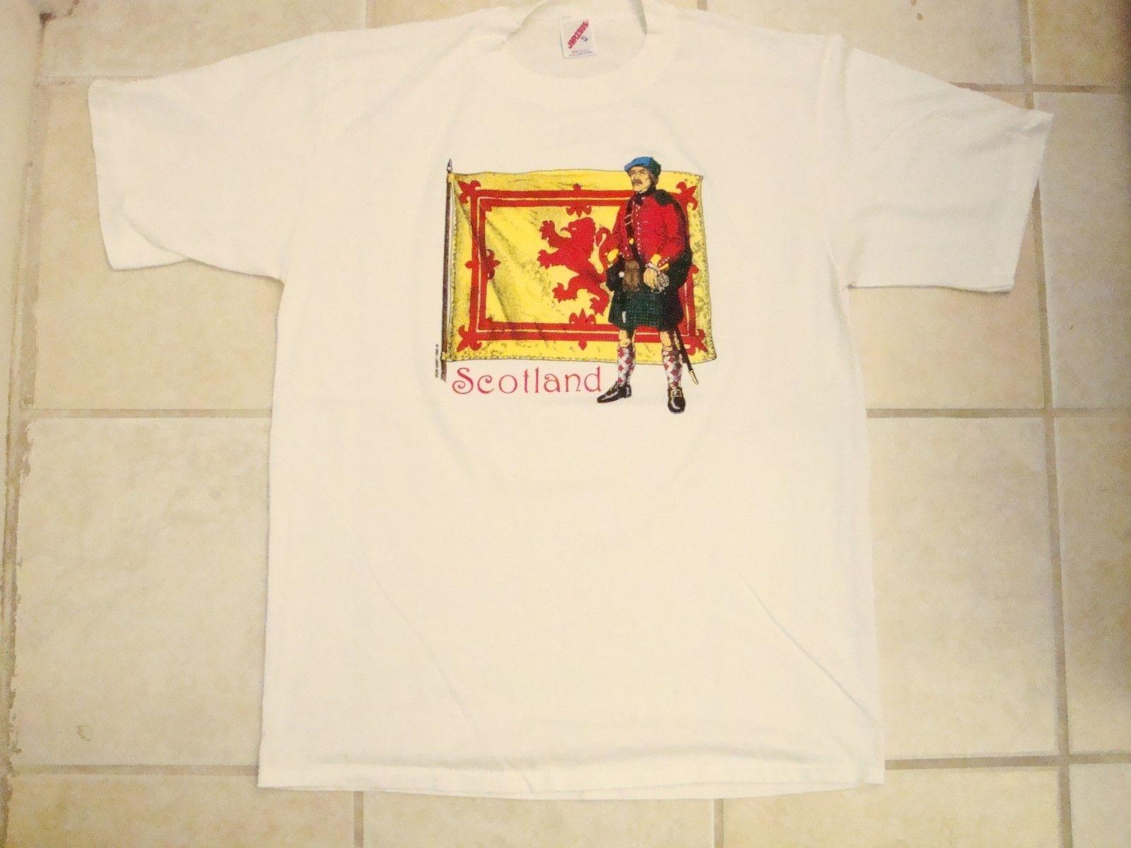 Print Tees Short Sleeve O-Neck Vintage Scotland Scottish Flag Bagpipes Kilt Soft White T Shirt L Men Summer Style