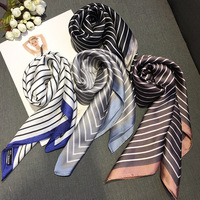 Women Striped Square Scarf Silk Scarves Ladies Neckerchief Foulard Bandana Size 70cm*70cm