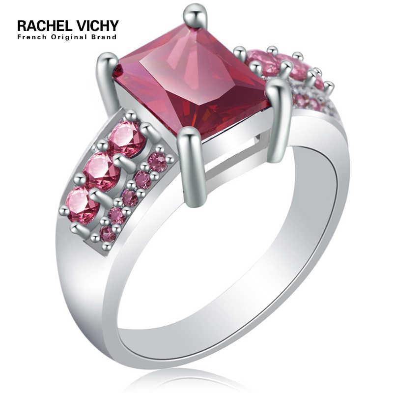 RACHEL VICHY ขายร้อนแหวนเงินผู้หญิงงานแต่งงาน AAA Zircon เครื่องประดับแหวนผู้หญิง Radiant CZ แหวนคริสตัลใหม่ WL-R81