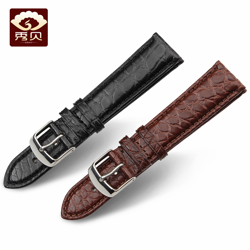 High-quality Crocodile Leather Straps Alligator Skin Watchband Black Brown Colors with Silver Gold Steel Pin Buckle 16-24mm | Watchbands
