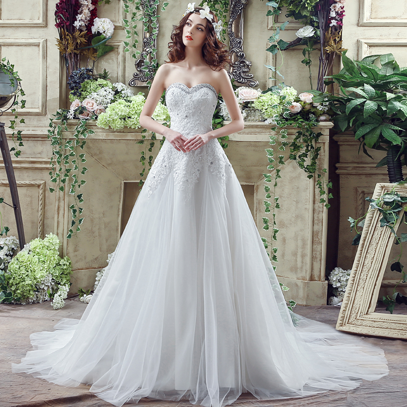 Lace Wedding Dress A Line Sweetheart Neck Simple 2016