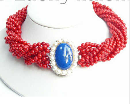 LL <<<0140 wspaniały szczęście biżuteria AAA 10 chorób przenoszonych drogą płciową naturalne czerwony koral naszyjnik lapis lazuli szeroki