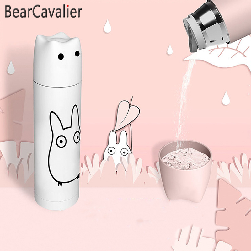 Pet 400ml Portable Filter Travel Cups Drinking Bowls Dog: BearCavalier Cute Cartoon New Vacuum Thermal Mug Flasks