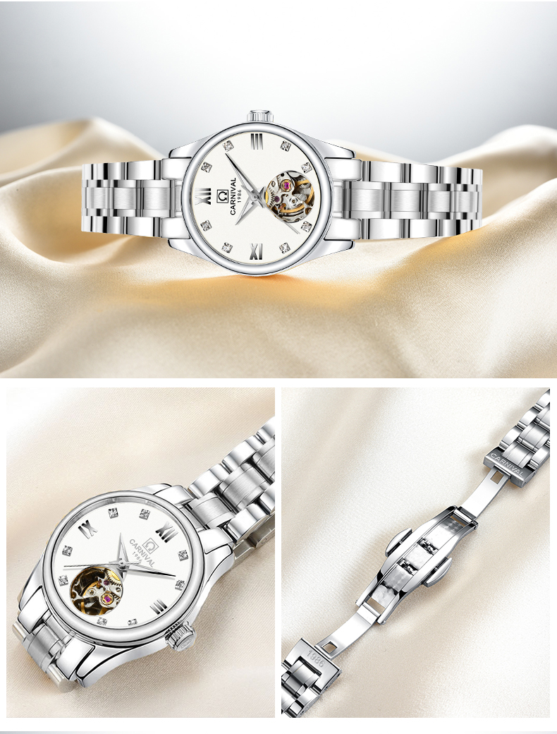 Luxury Carnival Women Watches ladies Automatic Mechanical Watch Stainless Steel Sapphire Waterproof relogio feminino Clock luxury brand carnival women watches ladies automatic mechanical watch women sapphire waterproof relogio feminino clock c8789l 2