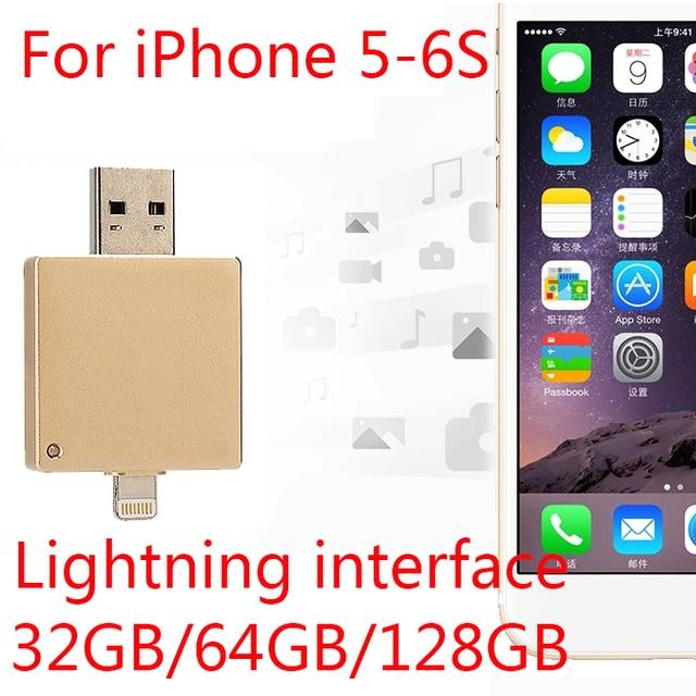 2.0 Usb Flash Drive 100% 64GB 128GB Gift OTG USB 8GB 16GB 32GB Pendrives Pen Drive 512GB 256GB For Iphone 6s/6/5/Ipad/Ipod