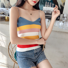 shintimes Multicolor Stripe Camis Knitted Cotton Women Gothic Camisole Casual Streetwear Haut Vetement Femme 2019 Top Mujer