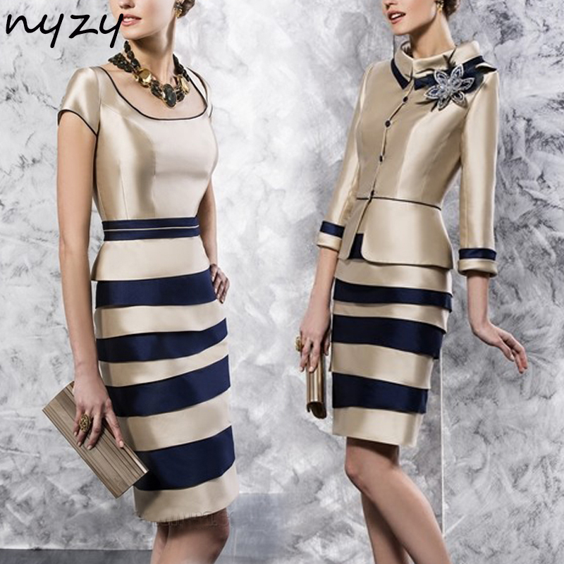NYZY M37 Cocktail Dress Champagne 2 Piece with Jacket Bolero vestidos coctel Formal Dress for Wedding Party Guest Wear 2019