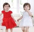 Nueva ropa 2015 niños niñas flores del bebé del vestido del bebé para la fiesta de cumpleaños de la navidad del vestido 0 - 2 T rojo