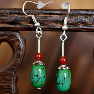 0d52abd35 Unique Original Beautiful Tur quoise Dotted with Red A gate Beads Tibetan  Silver Earrings Elegant Chinese Yunnan Ethnic Jewelry
