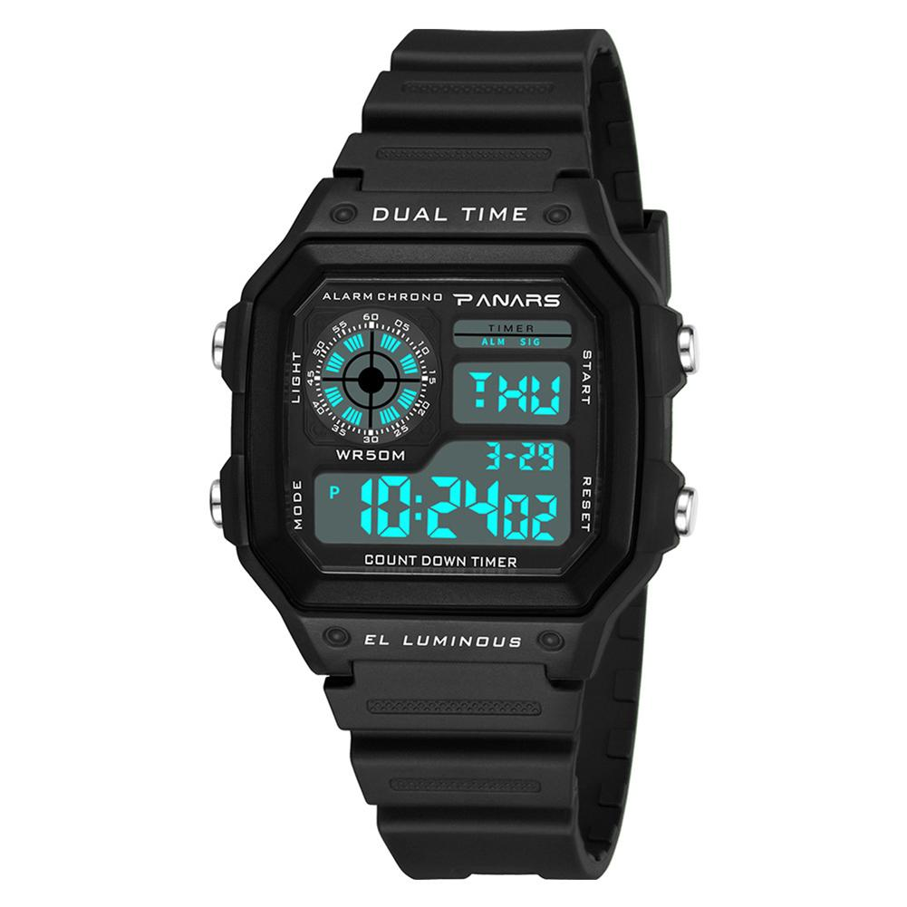 Multiuse Waterproof Square Dial Luminous Dual Time Alarm Men Digital Wrist Watch digital watch sport watch