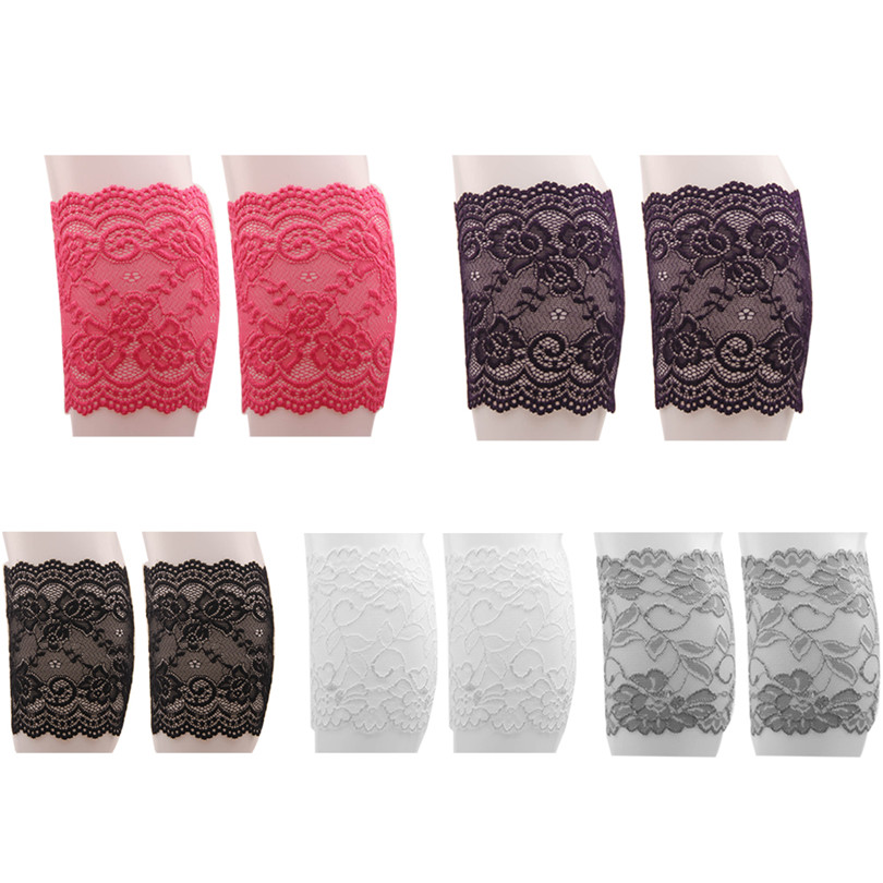 5 Pairs Sexy Women Stretch Soft Lace Boot Cuffs Multicolor Elastic Girls Leg Warmers Flower Pattern Boot Socks Knee Accessories