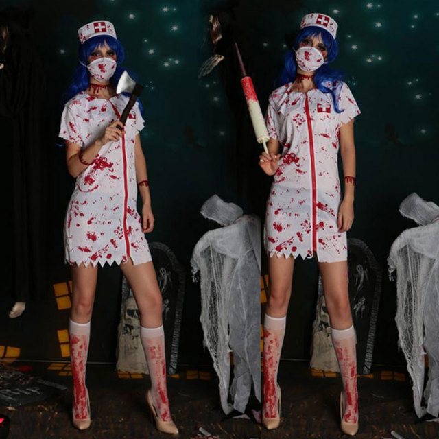 Women Dress Blood Bloody Stockings Halloween Gothic Scary Nurse Zombie Costume : zombie costums  - Germanpascual.Com