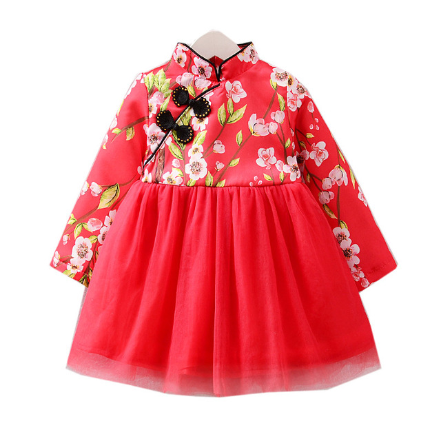 Chinese Style Traditional Girls Winter Dress Child Tang Suit Printing Cheongsam Dresses Robe Baby Qipao For New Year Clothing